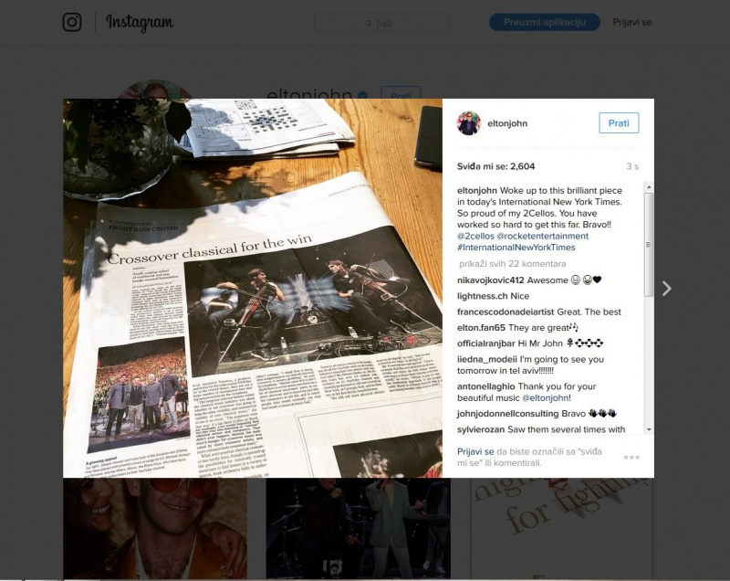 "2CELLOS na naslovnici New York Timesu, Elton John na Instagramu ""Bravo"""